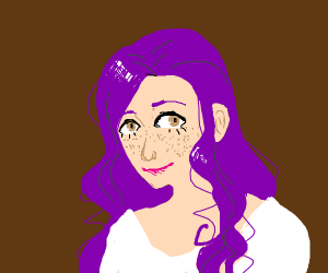 Lady with purple hair and freckles