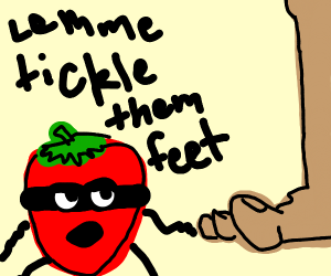 masked straweberry trying to tickle a foot