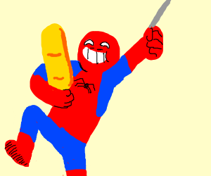 happy spiderman with a baguette