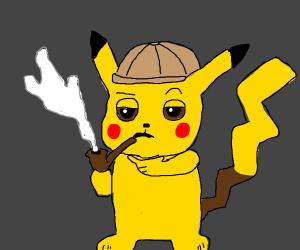 detective pikachu smokes pipe