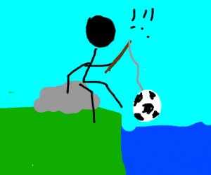 Fishing for a soccer ball