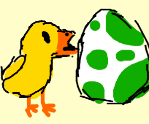 a chick by a yoshi egg