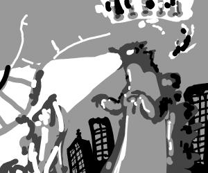 Godzilla destroying a rollercoaster