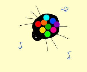 discoball is spider, conducting musicnotes