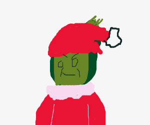 The Grinch in his Santa hat