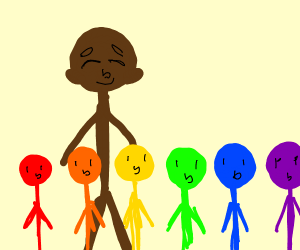 Large brown stickman has rainbow color kids.