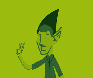 """Green elf does the """"OK"""" Hate symbol"""
