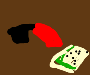 a red saucy knife stabbing a sandwich