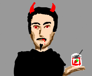 Lucifer eats strawberry jam