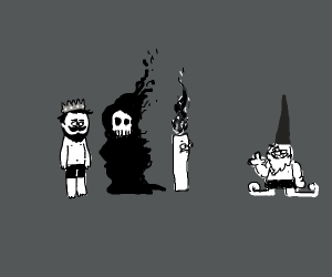 A king, death, candle man staring at gnome