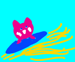 Kirby surfing on colors and light