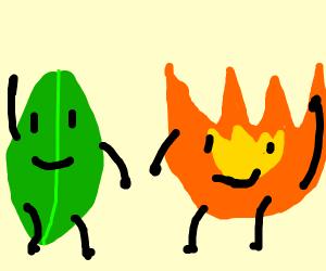 BFDI Leafy and Firey - Drawception
