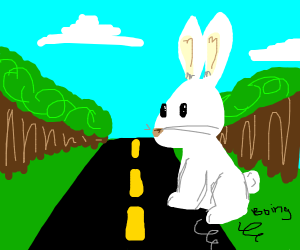 giant rabbit jumping onto the road