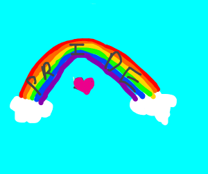 gay rainbow on clouds