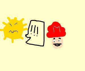 angry sun yells at mario