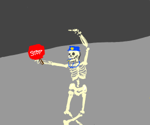 a skeleton directs traffic