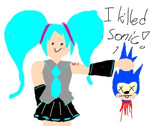 Hatsune Miku decapitated Sonic