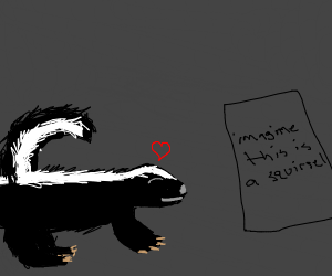 Skunk loves squirrel