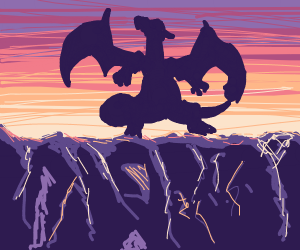 Charizard silouette on a mountain