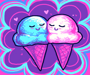 Two Ice Cream Cones in love
