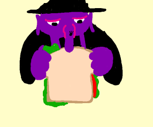A witch eating a sandwich