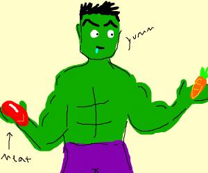 Hulk say NO to meat.  Hulk want carrot.