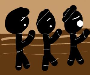 choir of three men singing