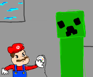 Mario encounters creeper, wields controller