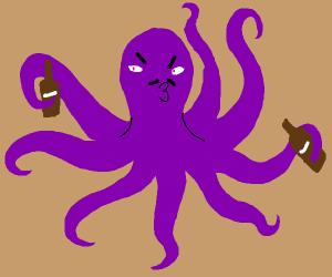 purple octopus bartender