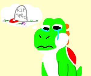 yoshi thinks about ded mario and cries