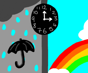 clock between rain and a rainbow