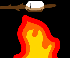 Toasting a marshmallow over campfire