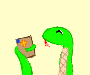 snake finds the bible happily