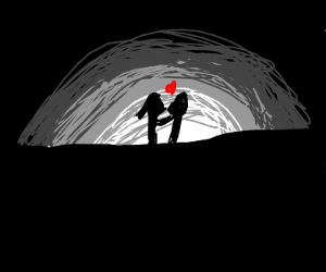 Couple kiss under the moon in twilight
