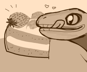 Purple lizard loves strawberry cake