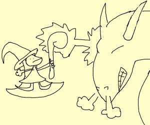 Sorceress battles dragon