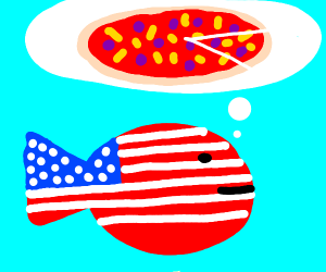 American fish thinking about pizza