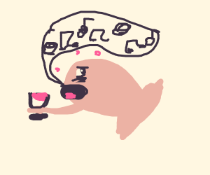 Fish Drinking Wine While Singing