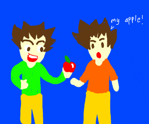 man steals his twin brothers apple