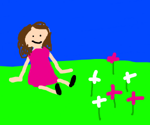 Girl admiring white and pink flowers