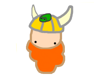 Viking with frog friend on head