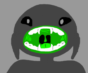 Weird thing shows its green mouth to viewer