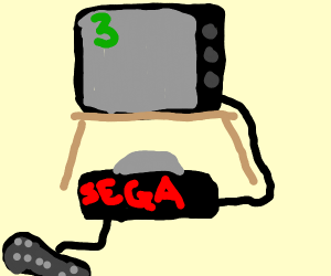 Sega Saturn plugged into a TV