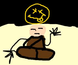 Monk levitating and reaching nirvana