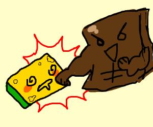 Buff brownie beats up a sponge