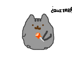 pusheen offers a tootsie pop to victims