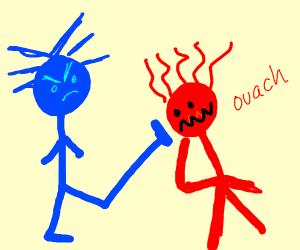 POW! Blue guy kicks red guy