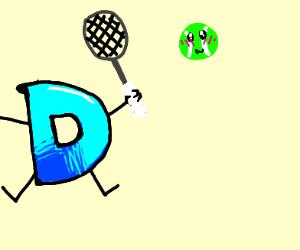 Drawception mascot playing tennis