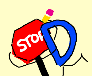 Drawception logo hugging a stop sign