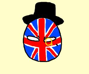 British flag with black dot on it